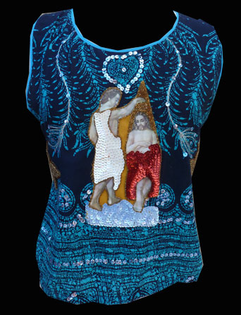 Blue Jesus Applique on Wax resist fabric-Small