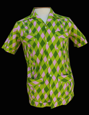Green Pink Harlequin- Short Sleeve- Size 34