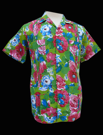 Green Red Flower- Short Sleeve- Size Medium/38