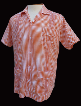 Orange Gingham-Short Sleeve-Size Large/40