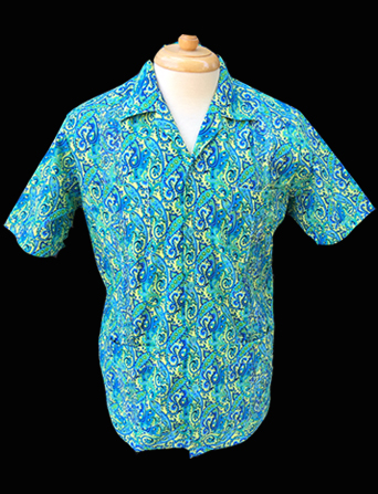 Peacock Paisley-Short Sleeve-Size Medium/38