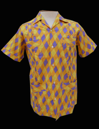 Yellow Purple Harlequin- Short Sleeve- Size 36