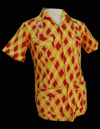 Yellow Red Harlequin- Short Sleeve- Size 32/XX-Small