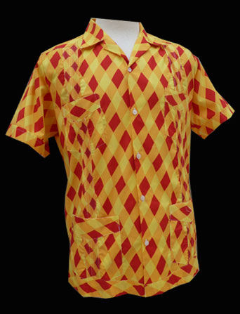 Yellow Red Harlequin-Short Sleeve-Size Extra Small/34